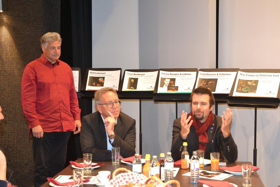 Bernhard Sieberer, BM Martin Krumschnabel und Klaus Reitberger (v.l.) bei der Programmpräsentation.