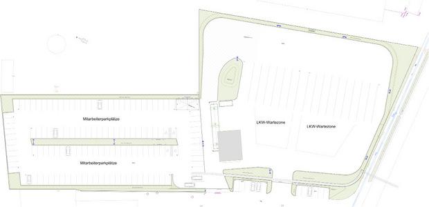 Im neuen Logistikzentrum der Pfeifer Group werden die An- und Abtransporte gewogen und verteilt, eine Lkw-Pufferzone (in der Skizze rechts) verhindert Staus. Zusätzlich entstehen 110 Mitarbeiter-Parkplätze (l.).