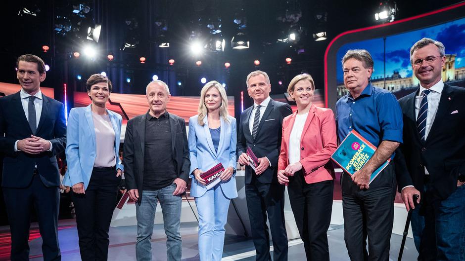 Sebastian Kurz (ÖVP), Pamela Rendi-Wagner (SPÖ), Peter Pilz (Liste Jetzt), ORF-Moderatorin Claudia Reiterer und ORF-Moderator Armin Wolf, Beate Meinl-Reisinger (NEOS), Werner Kogler (Die Grünen) und Norbert Hofer (FPÖ).