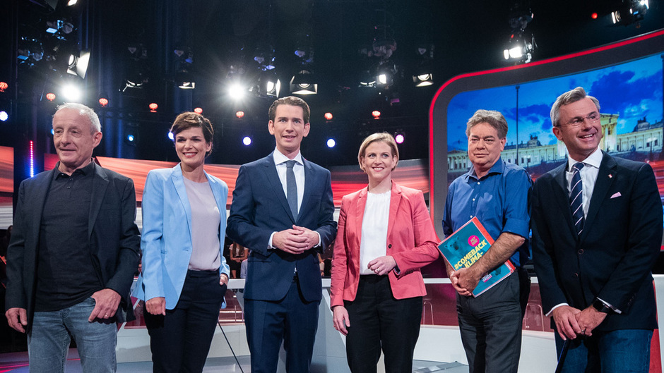 Die Spitzenkandidaten Peter Pilz (Liste Jetzt) , Pamela Rendi-Wagner (SPÖ) ,Sebastian Kurz (ÖVP), Beate Meinl-Reisinger (NEOS), Werner Kogler (Die Grünen) und Norbert Hofer (FPÖ) trafen sich zur Diskussion im ORF.