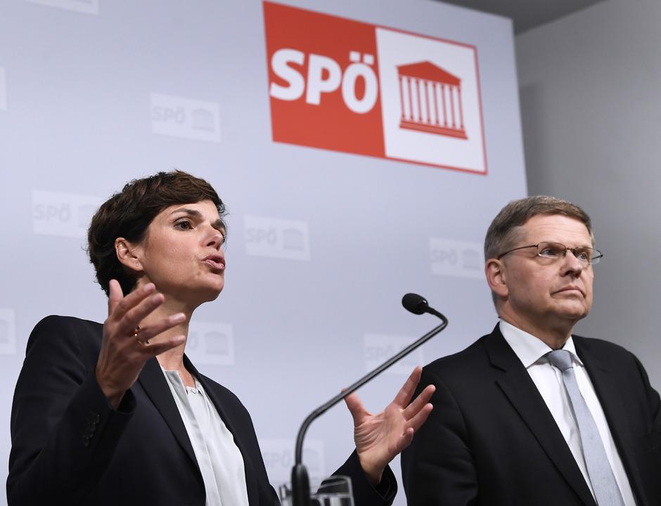 SPÖ-Vorsitzende Pamela Rendi-Wagner und der neue Bundesgeschäftsführer Christian Deutsch.