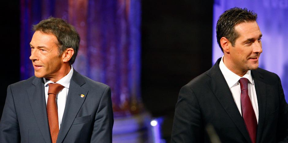 Aus Parteifreunden wurden Widersacher: Jörg Haider gründete 2005 das BZÖ, Heinz-Christian Strache wurde Chef der Blauen.