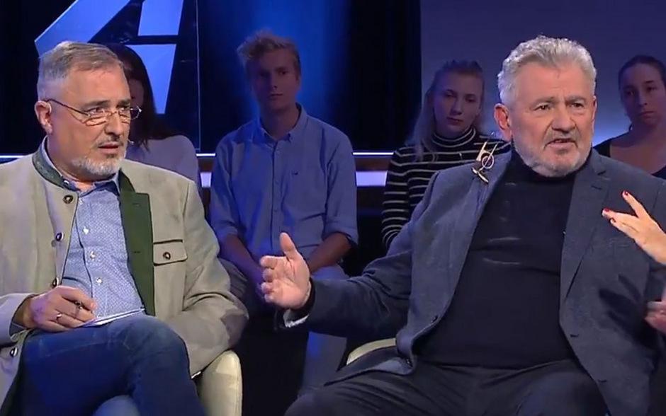 """""""Spesenritter"""", """"Denunziant"""", """"Trottel"""": Stadler (l.) und Mölzer lieferten sich live im Fernsehen einen Schlagabtausch."""