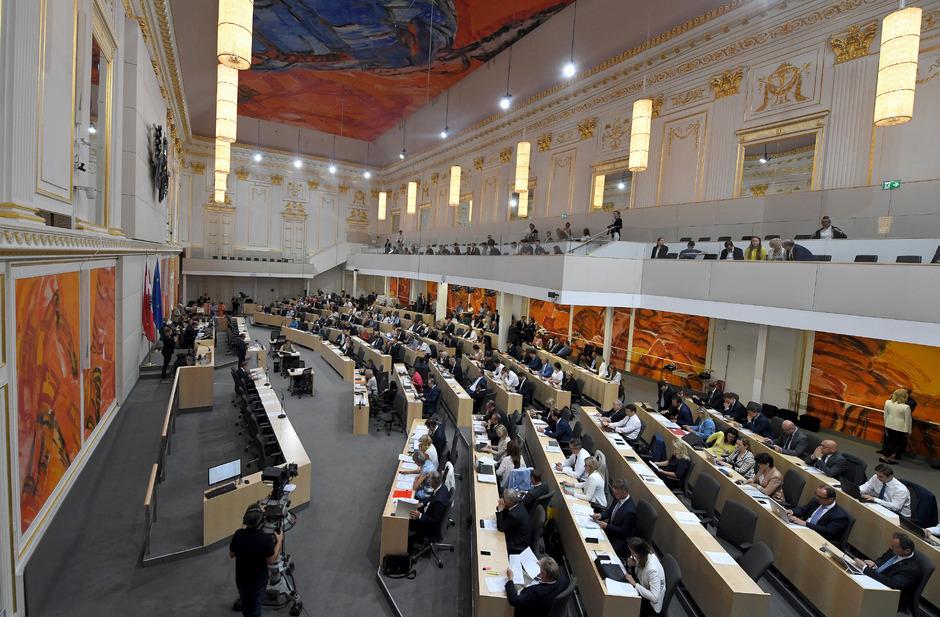 Der österreichische Nationalrat in seinem derzeitigen Parlamentsausweichquartier in der Hofburg.