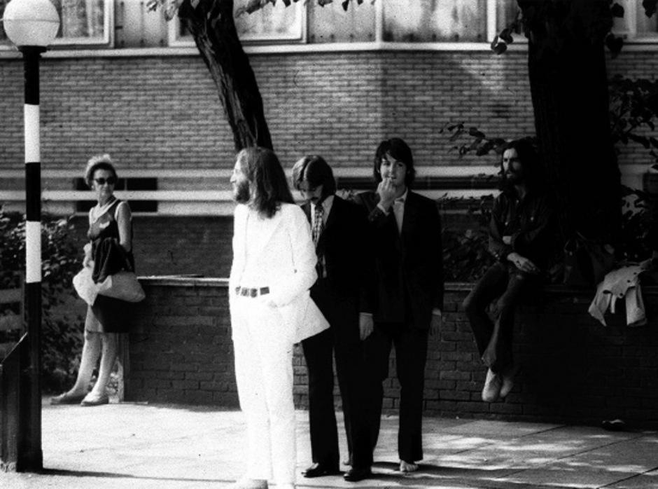 """The Beatles beim Shooting für das """"Abbey Road Album""""."""