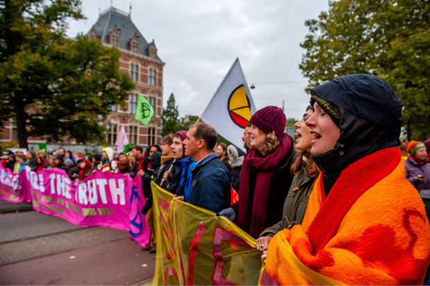 Straßenblockade im Zentrum von Amsterdam.