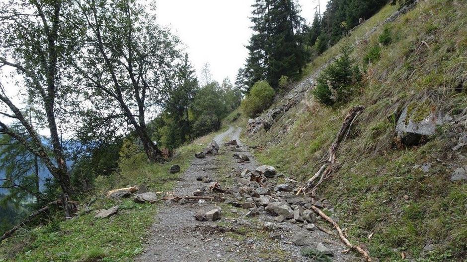 """""""Das meiste Material ist auf den oberhalb der Landesstraße L237 liegenden Forstweg gefallen."""