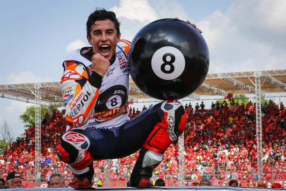 Die MotoGP bestimmt derzeit nur eine Person: Marc Márquez (ESP) hat mit Honda seinen insgesamt achten WM-Titel eingefahren.