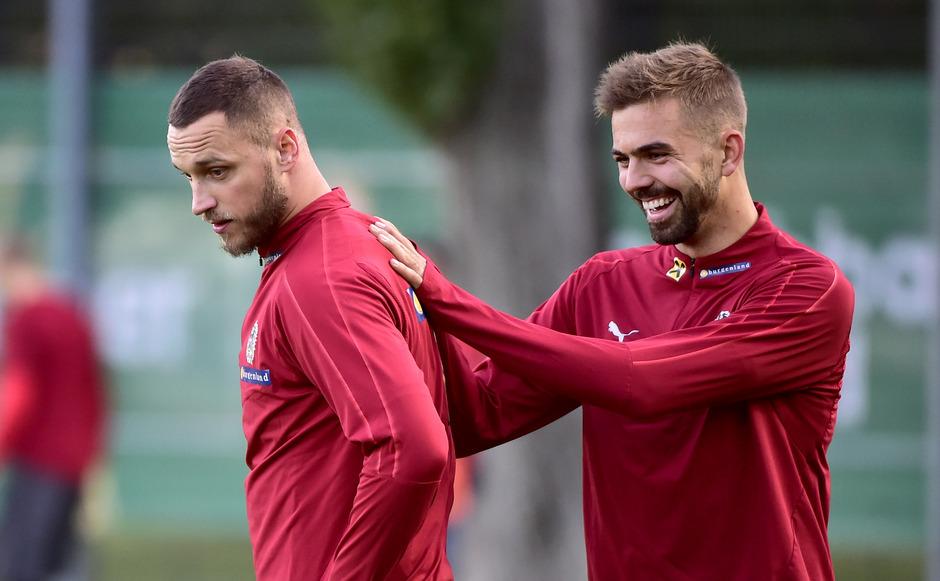 Gut gelaunt: Marko Arnautovic (l.) und Tirols ÖFB-Teambeitrag Lukas Hinterseer.