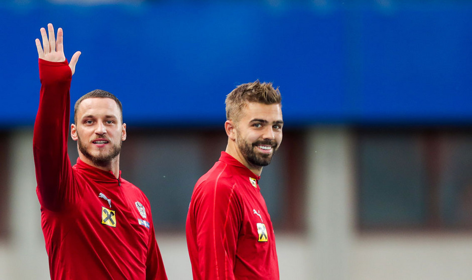 Gut gelaunt beim Abschlusstraining: Die ÖFB-Stürmer Marko Arnautovic und Lukas Hinterseer.