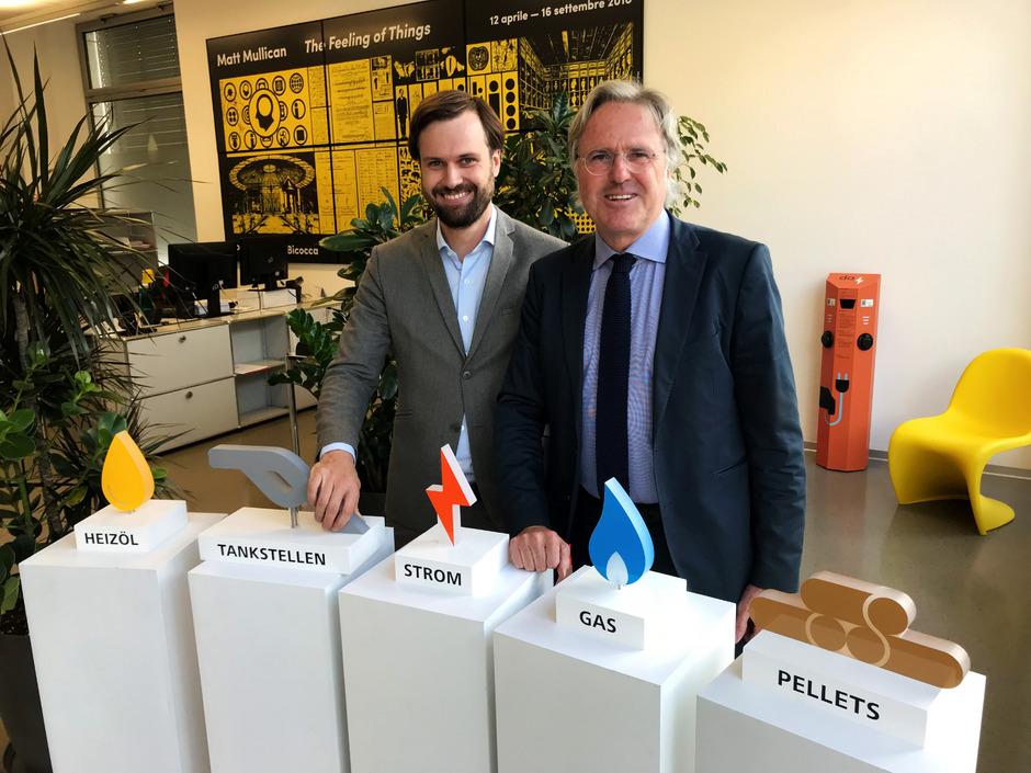Auf mehrere Standbeine wie Heizöl, Tankstellen, Strom, Gas und Pellets setzen Albert Gutmann (rechts) und Sohn Alexander Gutmann.