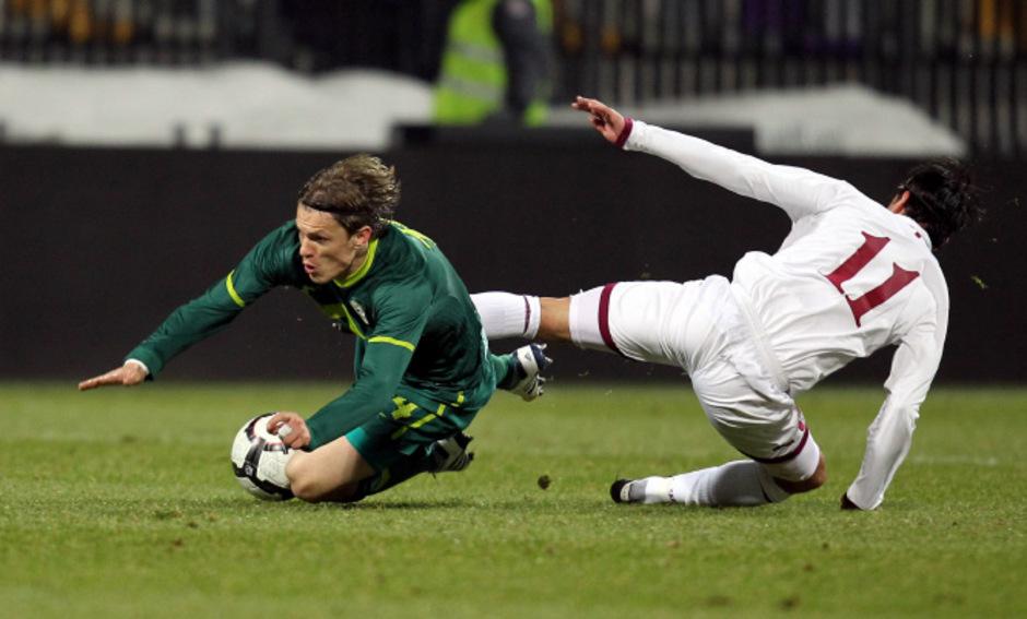 WSG-Tirol-Stürmer Zlatko Dedic war 48 für Slowenien aktiv - wie hier im März 2010 beim Freundschaftsspiel gegen Qatar.