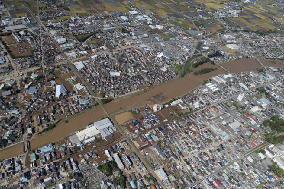 Eine Luftaufnahme zeigt das Ausmaß der Zerstörung.