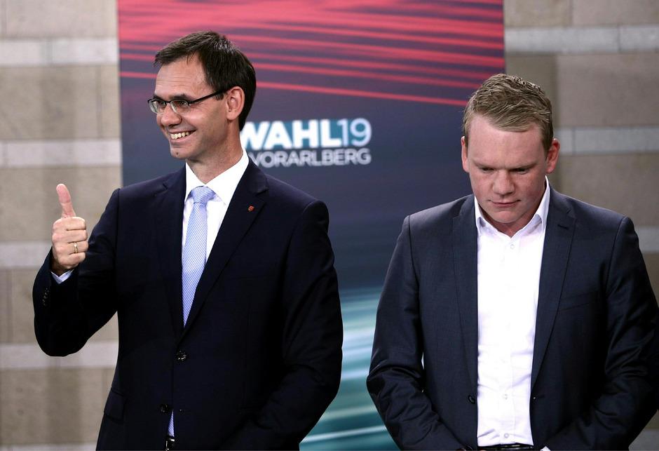 Die Absolute hat die VP von Landeshauptmann Markus Wallner weit verfehlt, trotzdem sind sie großer Wahlsieger. Die FPÖ mit Spitzenkandidat Christof Bitschi streicht ein Debakel ein.