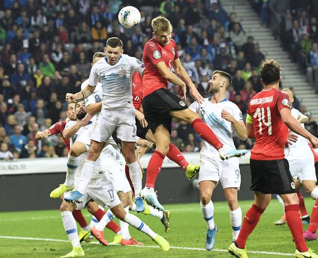 Die entscheidende Szene: Stefan Posch stieg in der 21. Minute am höchsten und erzielte den 1:0-Treffer für Österreich.