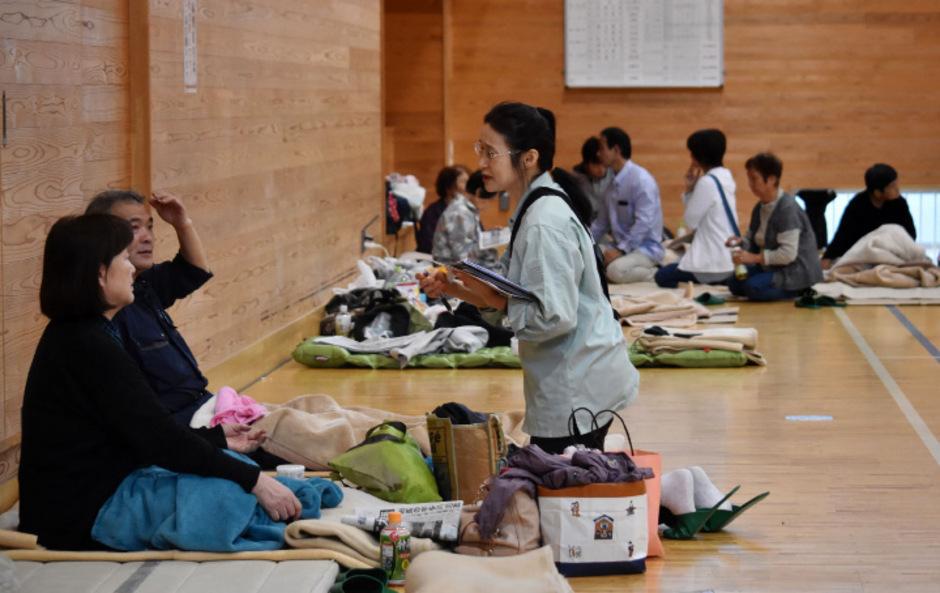 Versorgung der Evakuierten in Koriyama.