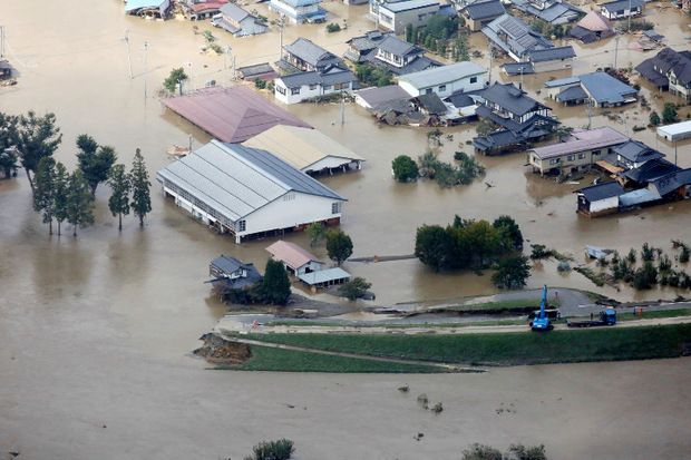 Überflutungen in Nagano.