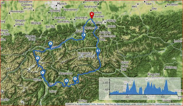 Fünf Tage, drei Länder, sechs Alpenpässe über 2000 Meter und 919 km. Tag 1: von Traunstein nach Innsbruck. 2. Tag: Sölden. 3. Tag: übers Timmelsjoch bis nach St. Ulrich in Gröden. 4. Tag: über Cortina bis Heiligenblut. 5. Tag: zurück nach Traunstein.