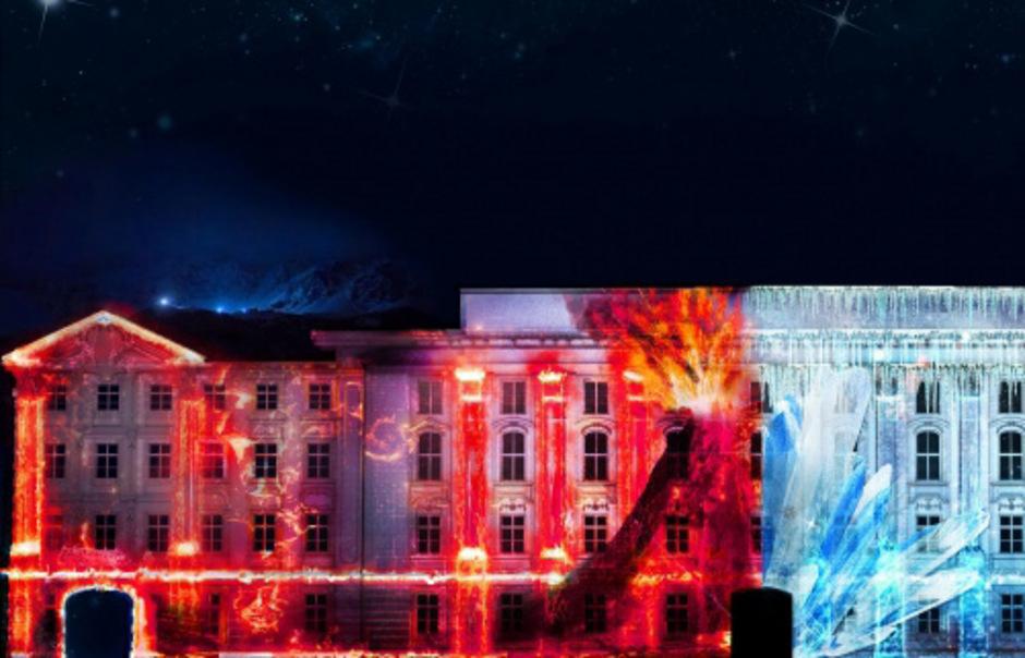 """Bei der Lichtshow """"Mount Magic"""" im Innenhof der Innsbrucker Hofburg stehen die Naturgewalten im Fokus."""