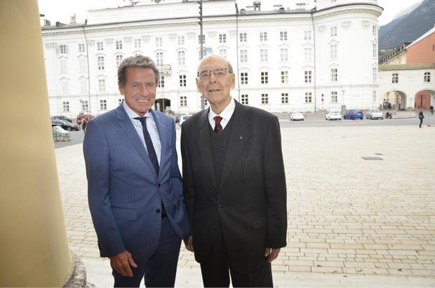 Die beiden Altrektoren Otto Muck und Karlheinz Töchterle (l.).