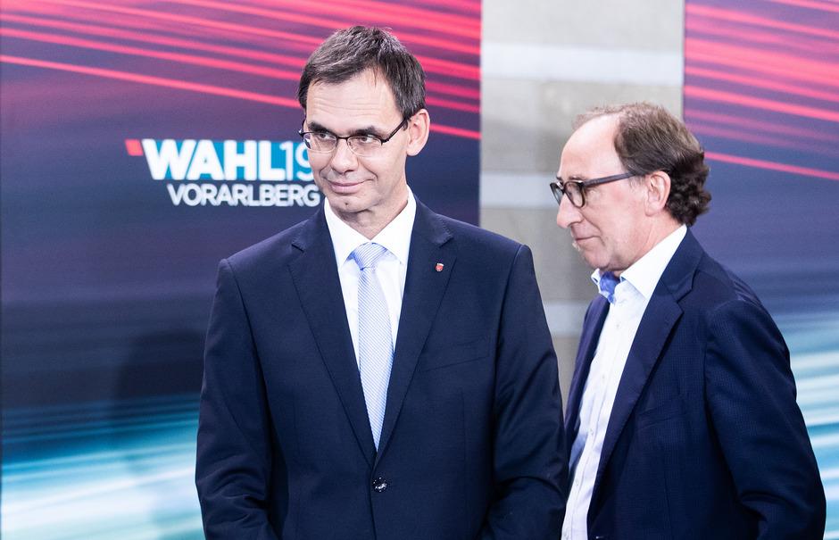 Der Vorarlberger Landeshauptmann Markus Wallner (ÖVP) und Grünen-Spitzenkandidat Johannes Rauch.