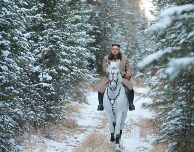 Auf dem weißen Pferd reitet Kim durch einen verschneiten Wald.