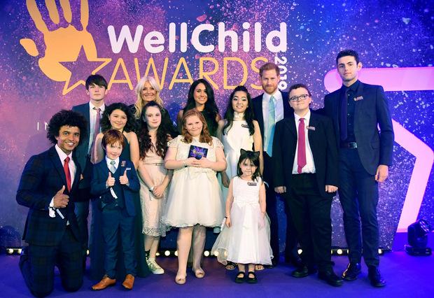 """Prinz Harry unterstützt die Organisation """"WellChild Awards"""" seit Jahren und kam am Dienstag in Begleitung seiner Frau."""