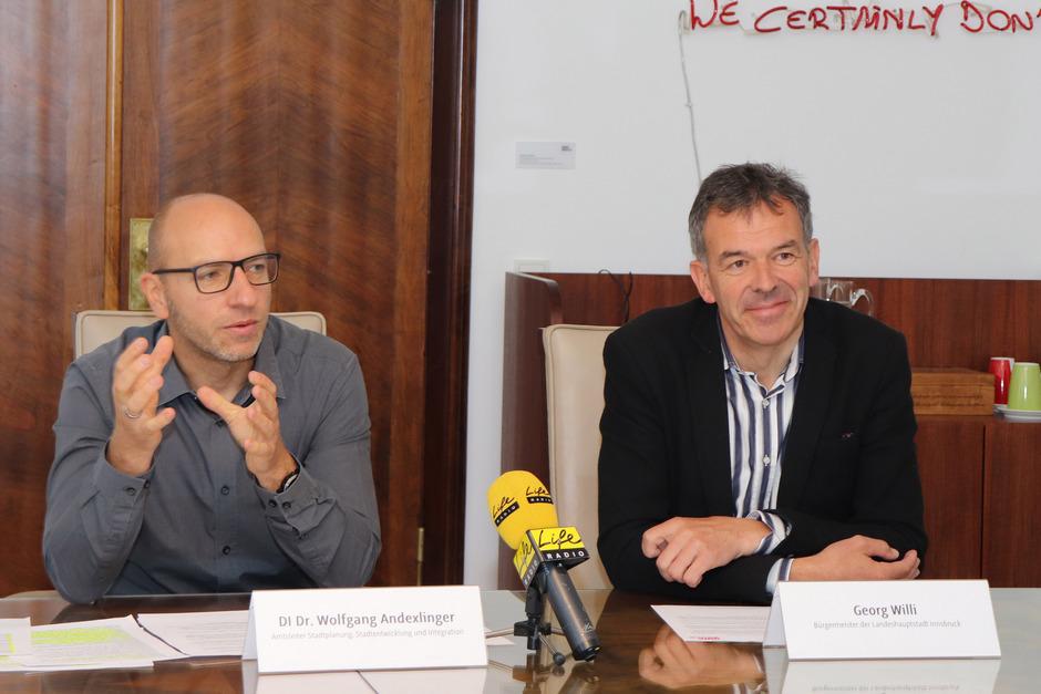 Präsentierten das Europan-Projekt: Wolfgang Andexlinger (Stadtplanung) und BM Georg Willi (v.l.)