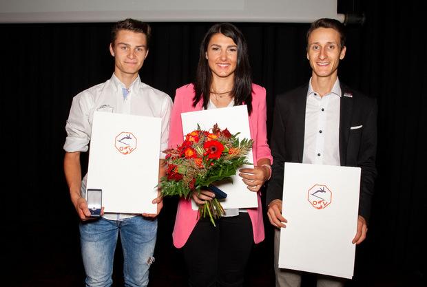 Das große ÖSV-Ehrenzeichen erhielten Kombinierer Johannes Lamparter, Speed-Dame Stephanie Venier und Weitenjäger Clemens Aigner (von links).