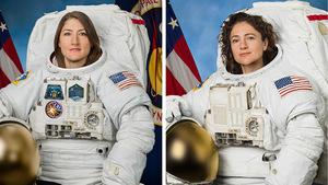 Die US-Astronautinnen Christina Koch (l.) und Jessica Meir.