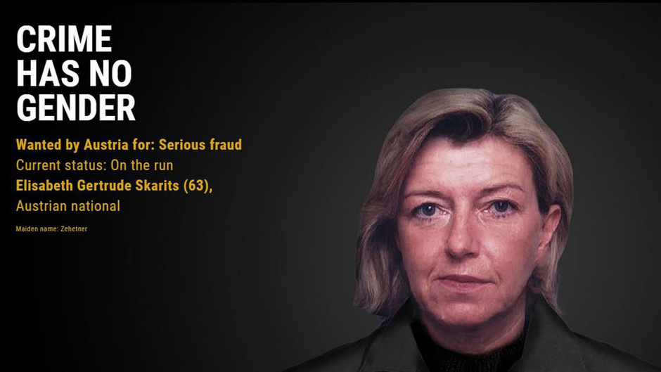 Elisabeth Gertrude Skarits auf der Website der Europol eumostwanted.eu.