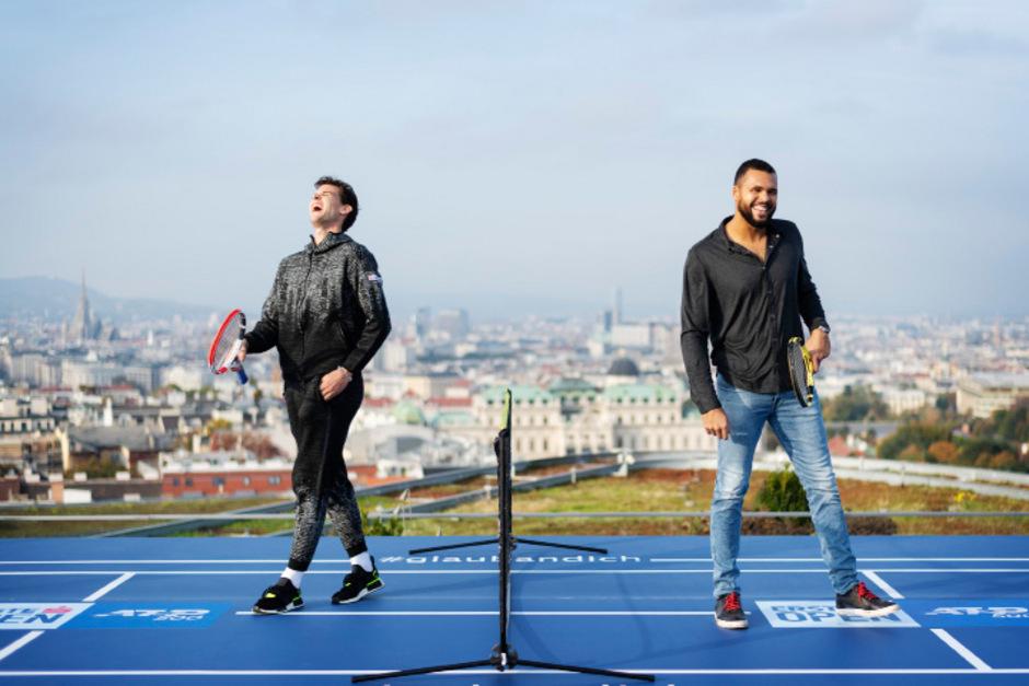 Beim PR-Termin in Wien vor der Auslosung hatten Thiem und Tsonga noch ihren Spaß, jetzt wird es im direkten Duell in der ersten Runde ernst.