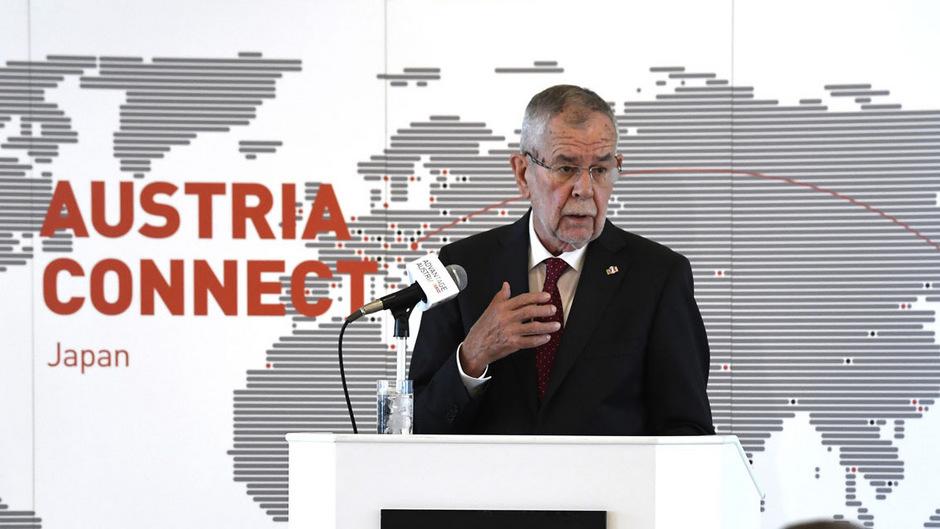 """Österreichs Bundespräsident Alexander Van der Bellen am Montag im Rahmen des Business Event """"Austria connect Japan"""" in Tokio."""