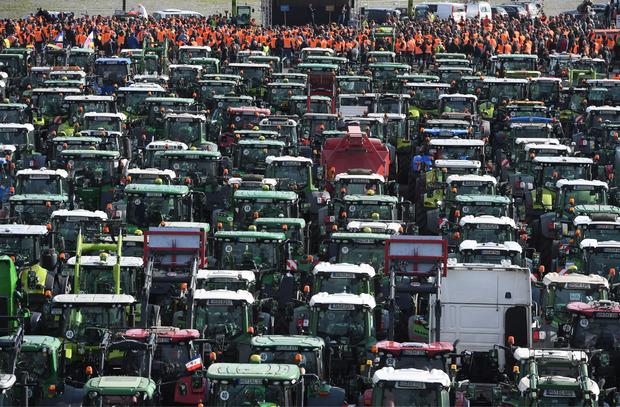 Landwirte aus Mecklenburg-Vorpommern stehen mit ihren Treckern bei einer Protestaktion gegen das Agrarpaket der Bundesregierung im Rostocker Stadthafen.