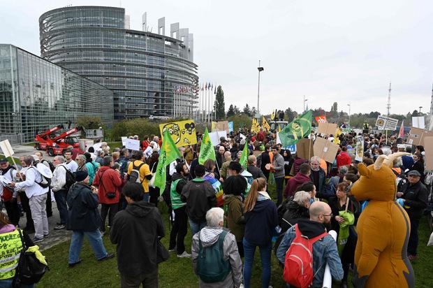 Hunderte Menschen protestierten vor dem Parlament.