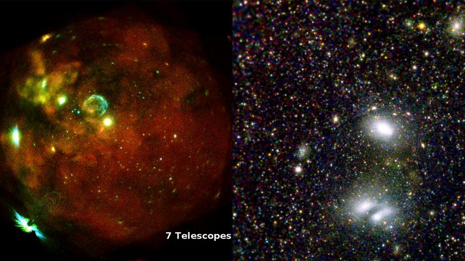 Links: Dieses Bild zeigt unsere Nachbargalaxie, die Große Magellansche Wolke (LMC). Rechts: Bild der beiden interagierenden Galaxienhaufen, in RGB-Farben.