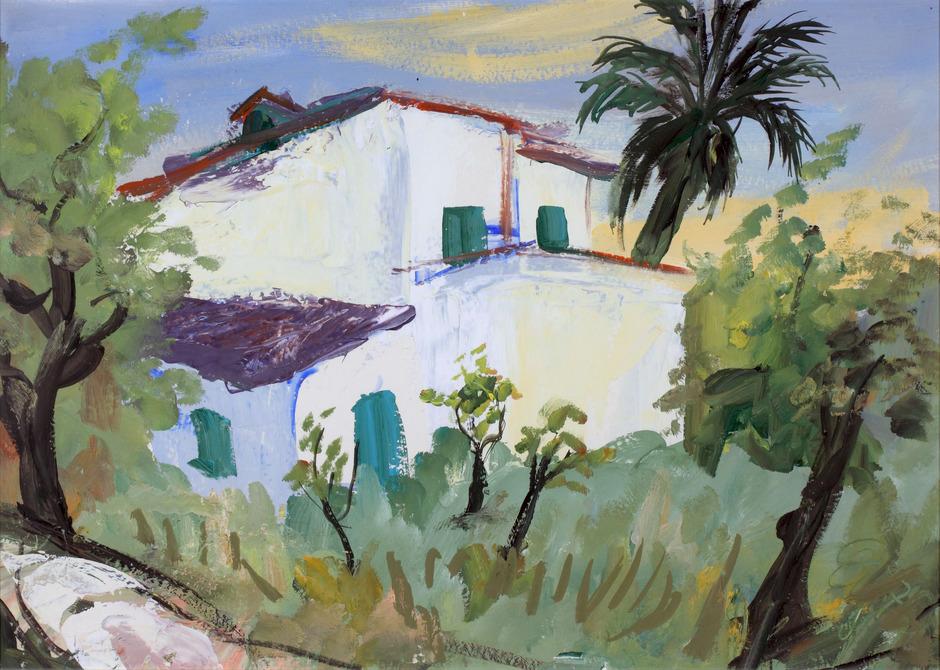 """""""Finca"""", 1970 von Oswald Kollreider anlässlich einer ausgedehnten Malreise nach Mallorca in Tempera gemalt."""
