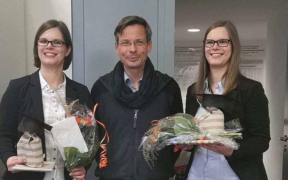 v. l.: Julia Janke, Professor Peter Langer und Sophie Janke.