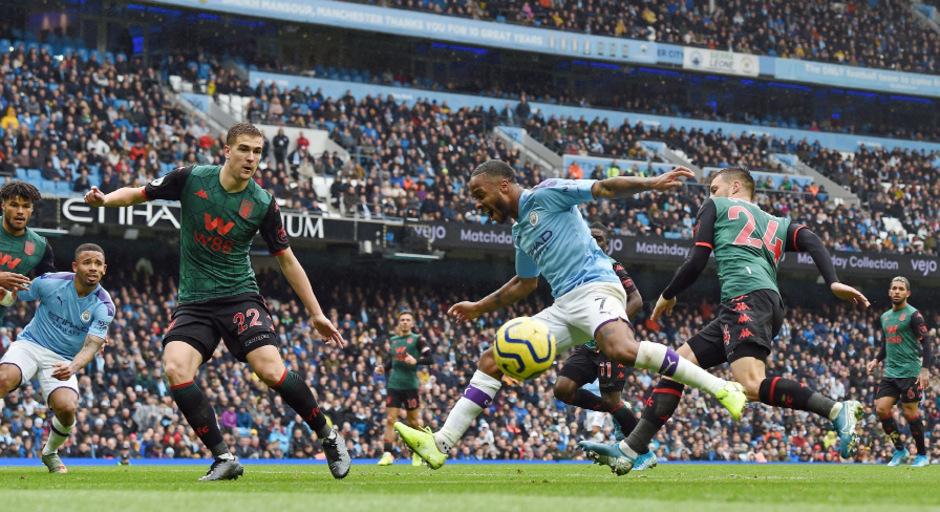 Raheem Sterling schoss ManCity gegen Aston Villa in Führung.