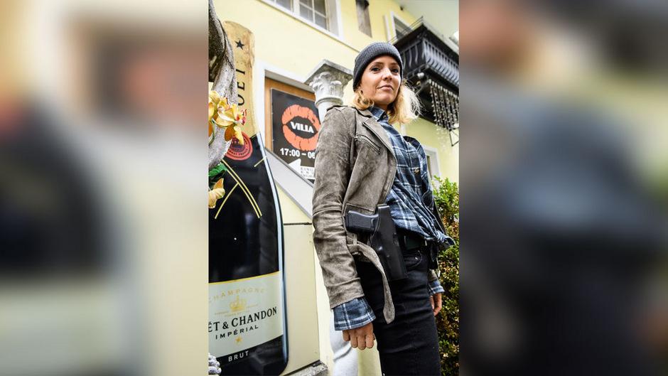Schauspielerin Patricia Aulitzky bei den ORF-Dreharbeiten zum zweiten Tiroler Landkrimi im bekannten Nachtclub Lady-Ó in Innsbruck.