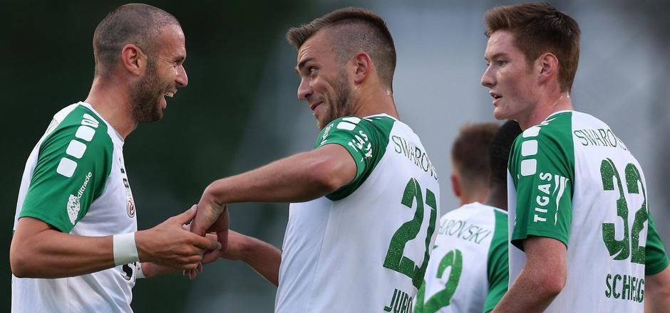 In der 2. Liga noch Torgaranten der WSG Tirol, läuft es für Lukas Katnik (l.) und Milan Jurdik in der Bundesliga alles andere als nach Wunsch. Heute soll das Lachen in ihre Gesichter zurückkehren.