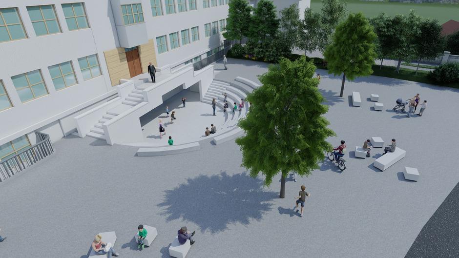 Die Schüler präsentierten den Umbau des bestehenden Schuleingangs zur Arena. (Visualisierung)