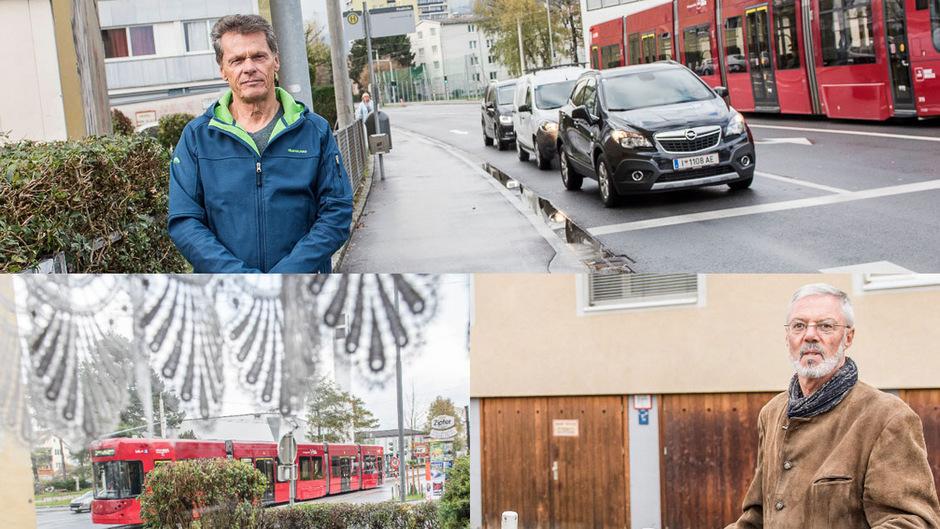 Alois Jöller (oben) wohnt direkt an der Schützenstraße (siehe auch unten links). Jetzt rät ihm sein Arzt, von dort wegzuziehen. Die Tochter von Johann Klingenschmid (unten rechts) lebt in der Serlesstraße, drei Jahre bleibt die Garagenzufahrt gesperrt.