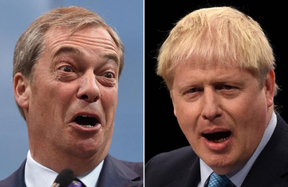 Nigel Farage und Premier Boris Johnson.