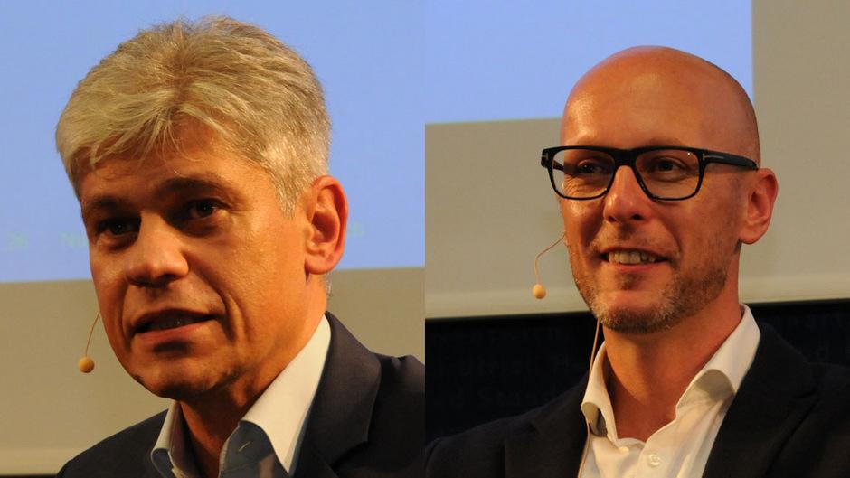 Thomas Maier (links, Verantwortlicher BioFuture Plant) und Mario Riesner (CEO Sandoz Österreich) diskutierten am MCI.