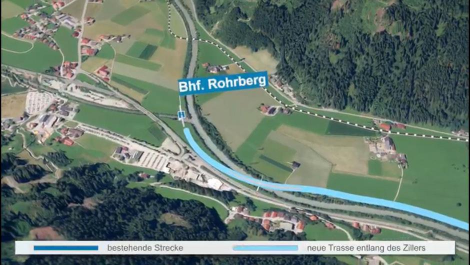 Wie hier veranschaulicht, würde die neue Trasse eine Bahnanbindung an die Zillertal Arena ermöglichen.