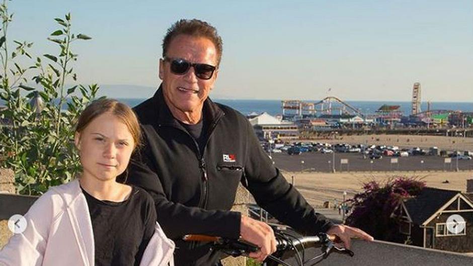 Arnold Schwarzenegger und Greta Thunberg waren unterwegs in Santa Monica.