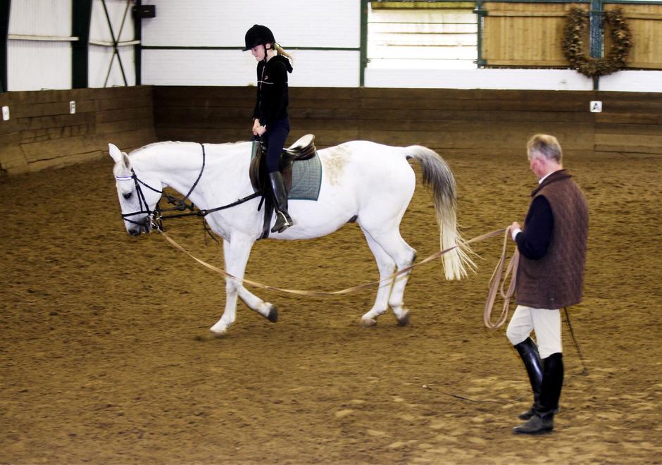 Typische Anfängerstunde: An der Longe (Leine) hat der Reitlehrer einen besseren Blick auf die Schülerin und das Pferd leichter im Griff.