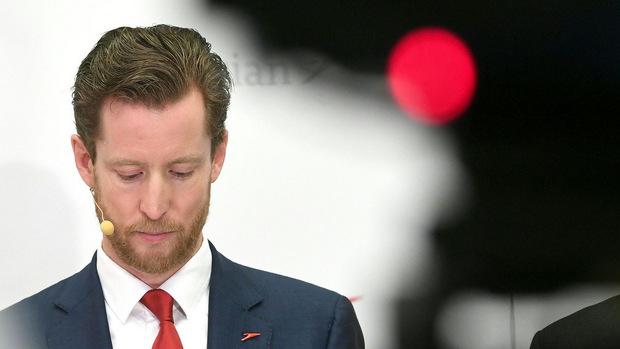 AUA-Chef Alexis von Hoensbroech am Donnerstag, 7. November 2019, bei der Pressekonferenz der Austrian Airlines.
