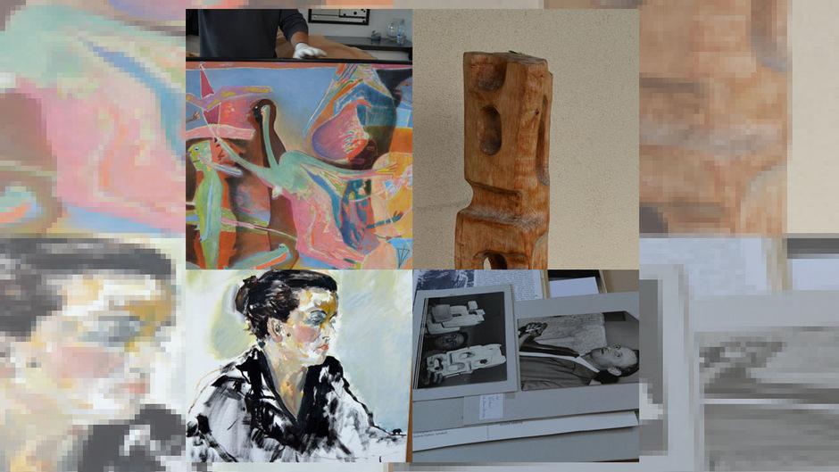 Die Sammlung wurde nach Imst überstellt. Darunter sind Werke von Maria Tomaselli (o.l.), Franz Xaver Hauser (o.r.), ein Porträt von Monika Lami aus der Hand von August Stimpfl (u.l.) und sonstiges aus der Galerie.
